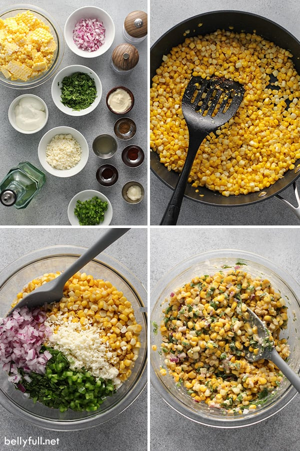 4 photo collage of ingredients for Mexican Street Corn Salad