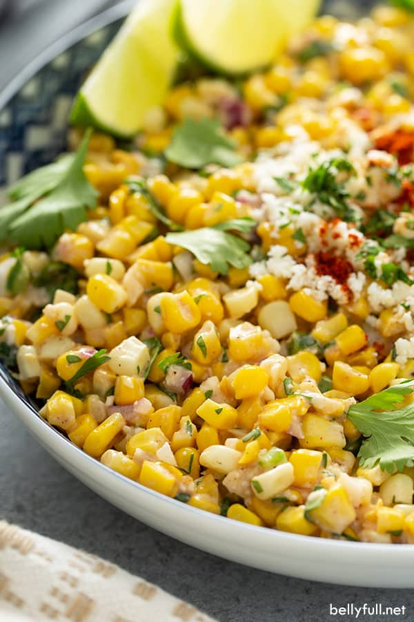 close up of Mexican Street Corn Salad in large serving bowl