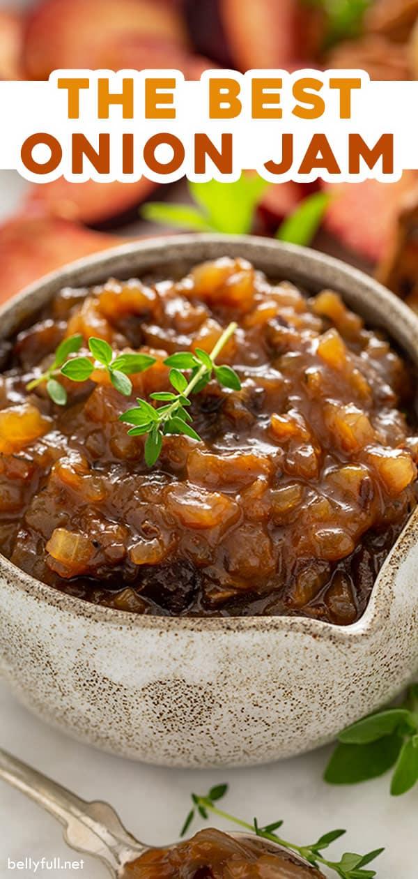 pin for homemade onion jam recipe
