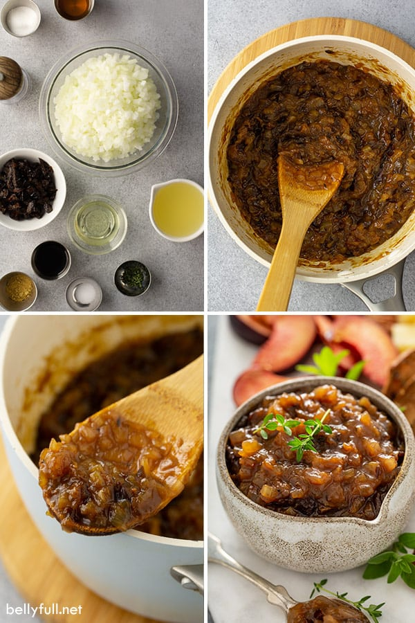 4 picture collage of ingredients for Onion Jam
