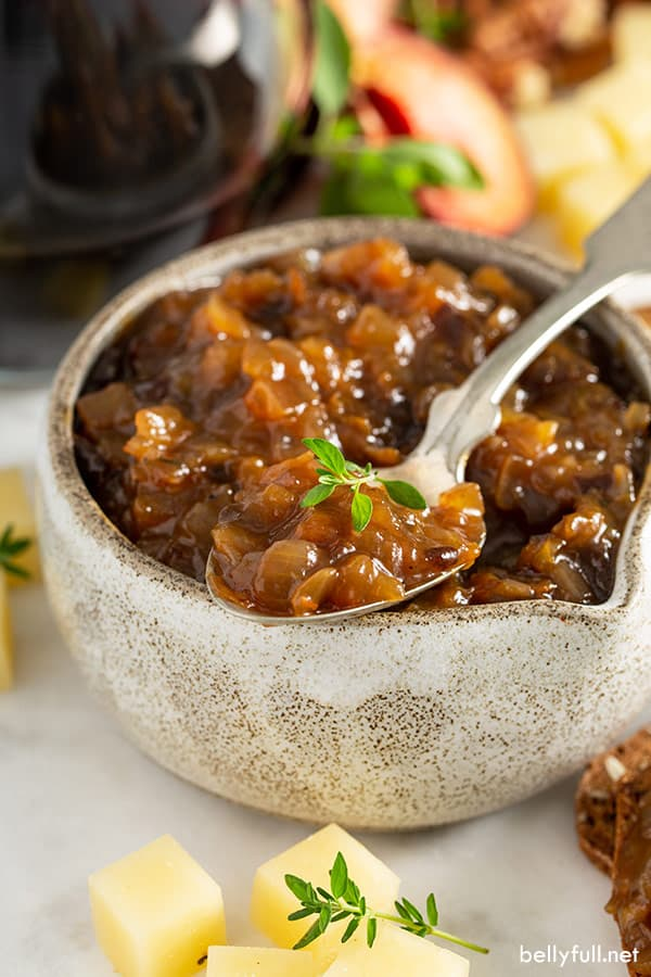 close up of onion jam on spoon