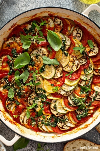 overhead picture of spiraled Ratatouille in white pan