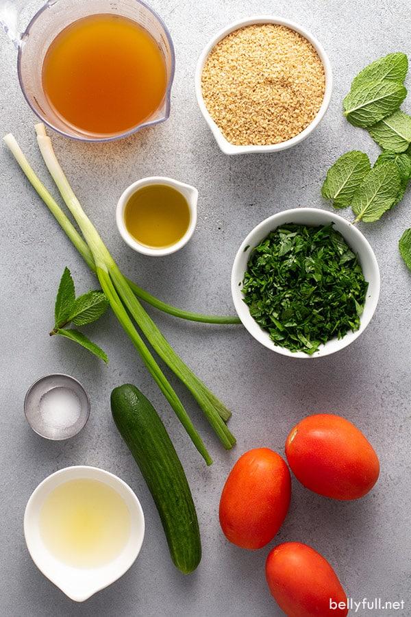 ingredients for Tabbouleh