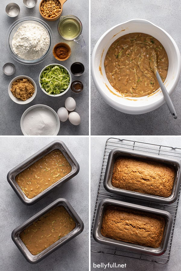 4 picture collage for zucchini bread making process