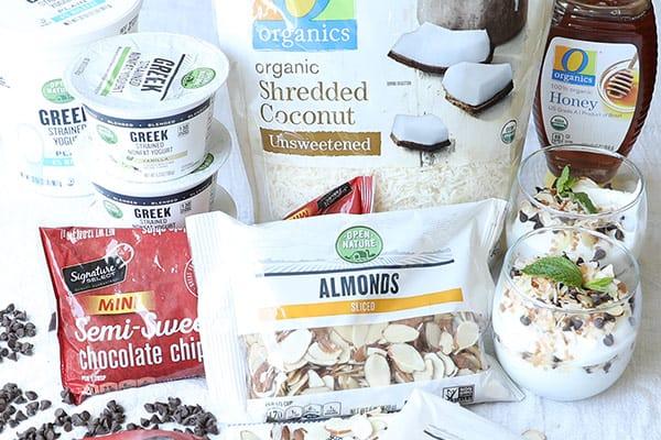 ingredients in packaging for almond joy yogurt parfaits