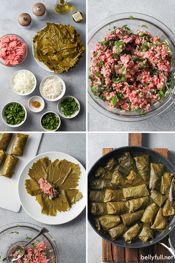 4 picture collage of ingredients for homemade stuffed grape leaves