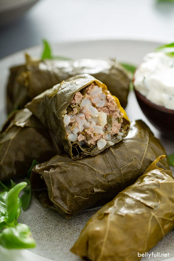close up of Dolma (stuffed grapes leaves) split in half with rice and beef