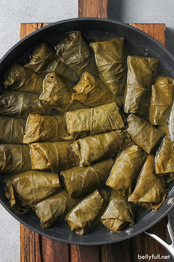 overhead of 25 Dolma in pan
