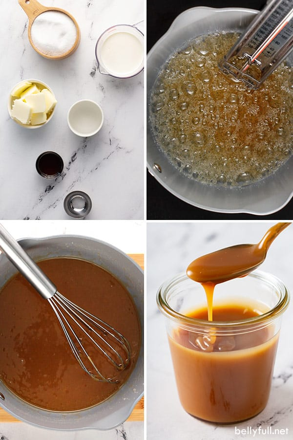 4 picture collage of caramel sauce ingredients and process