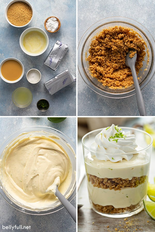 4 picture collage for key lime cheesecake parfait ingredients