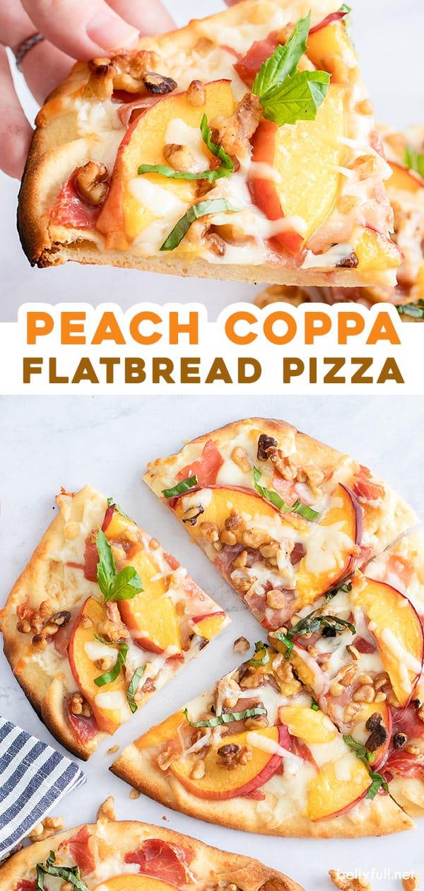 pin for peach coppa flatbread pizza recipe