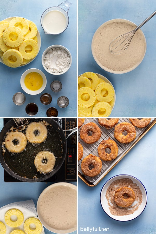 4 picture collage of pineapple fritter rings ingredients