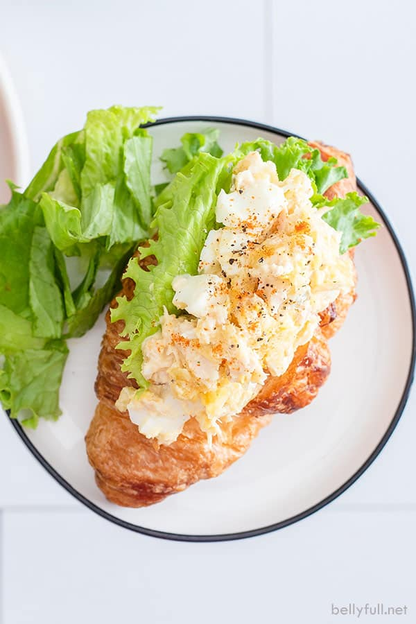 overhead picture of tuna salad with egg on a bed of lettuce on top of croissant