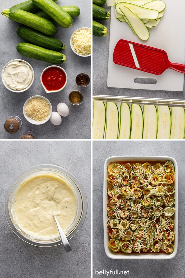 4 picture collage of ingredients for zucchini lasagna rolls