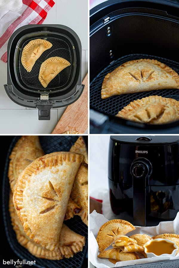 4 picture collage of apple hand pies in air fryer