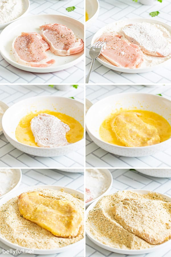 6 picture collage for breaded pork chops step by step