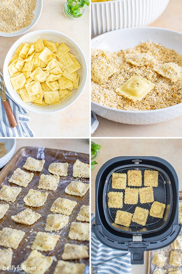 4 picture collage of ingredients for toasted ravioli in air fryer