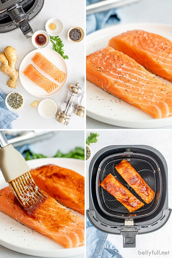 4 picture collage of air fry salmon ingredients