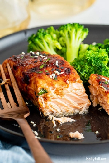 close up of air fryer glazed salmon inside