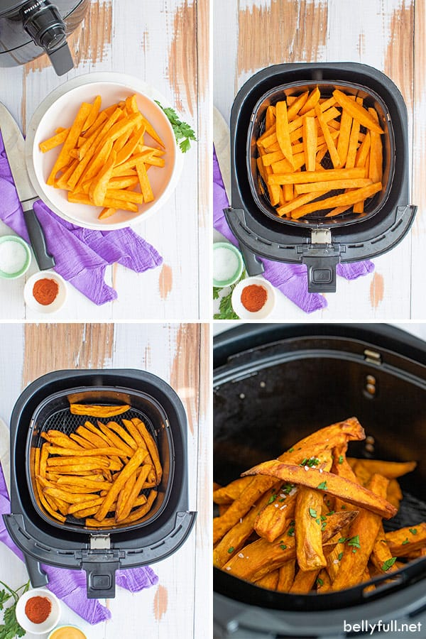 4 picture collage of sweet potato fries prep