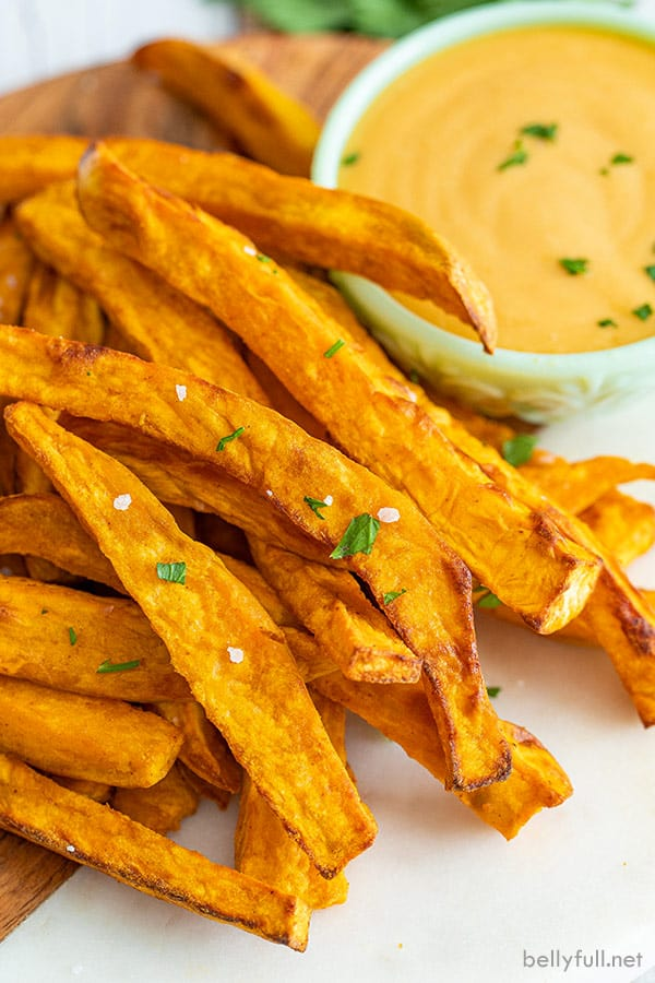 close up of cooked sweet potato fries