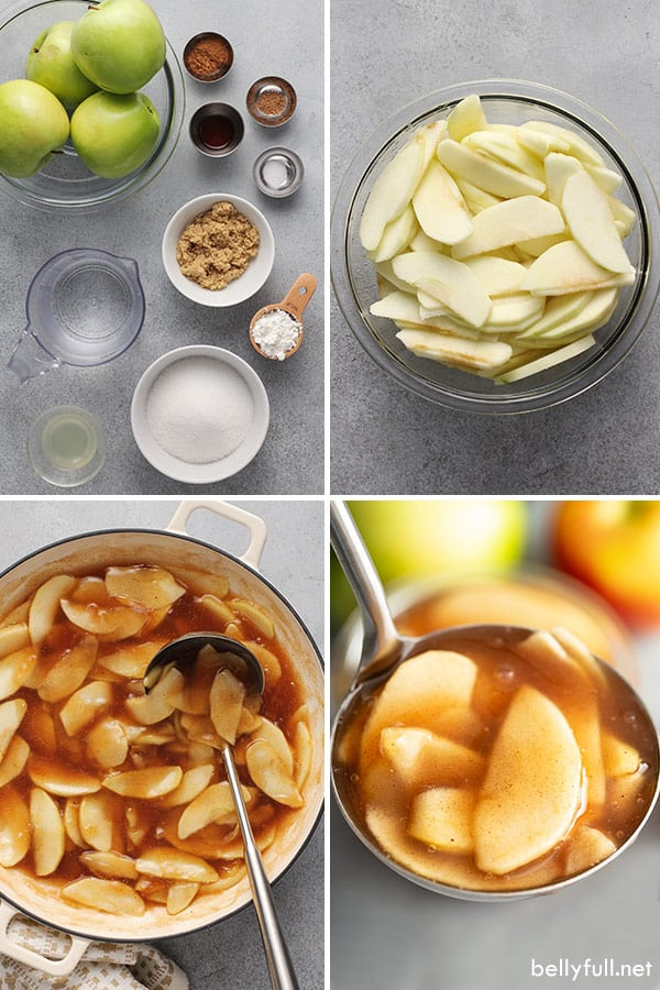 4 picture collage of apple pie filling ingredients