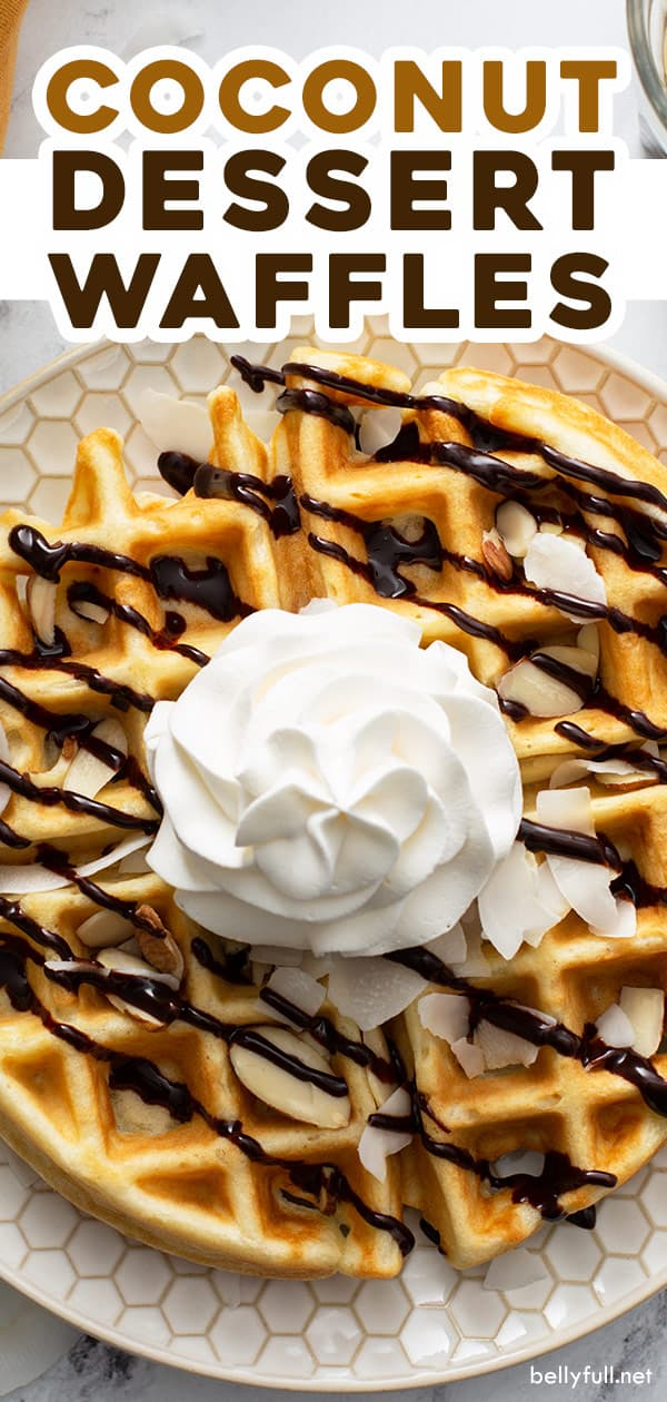 pin for coconut dessert waffles