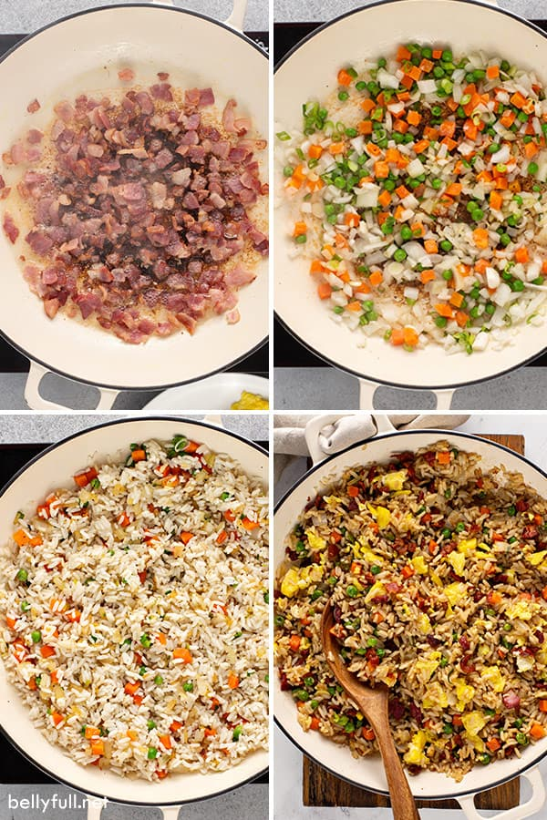 4 picture collage of fried rice being cooked