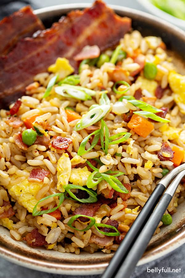overhead close up of homemade fried rice in bowl