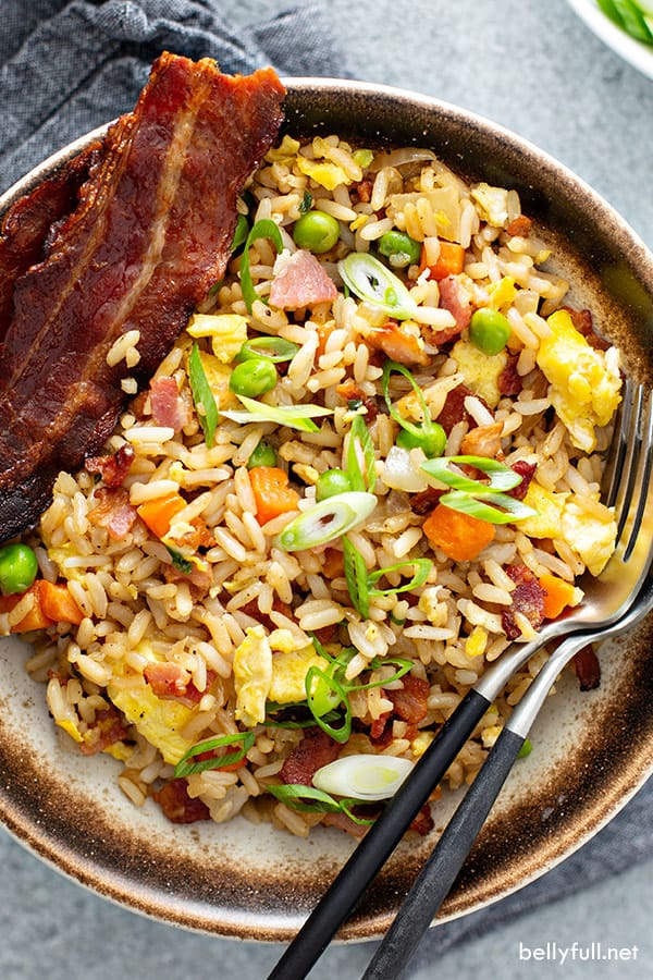 overhead of fried rice with bacon in bowl