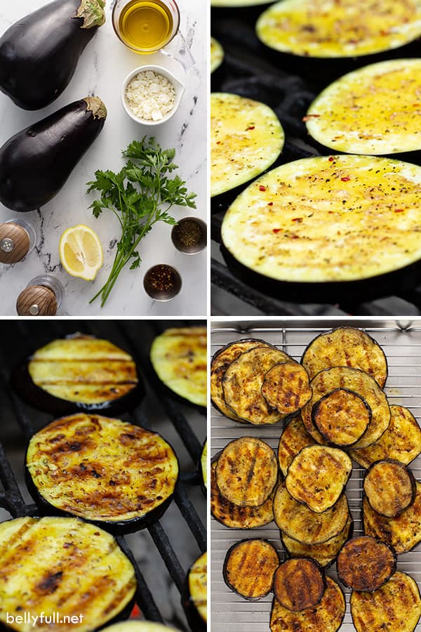 4 picture collage of grilled eggplant ingredients and cooking process
