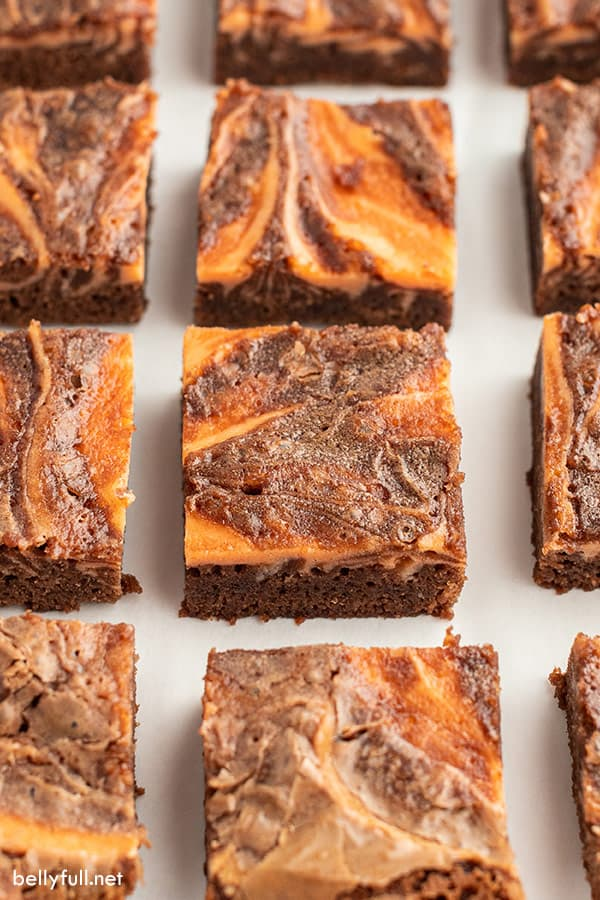 halloween brownies in rows on parchment paper
