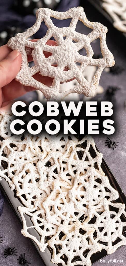 pin for cobweb Halloween cookies recipe