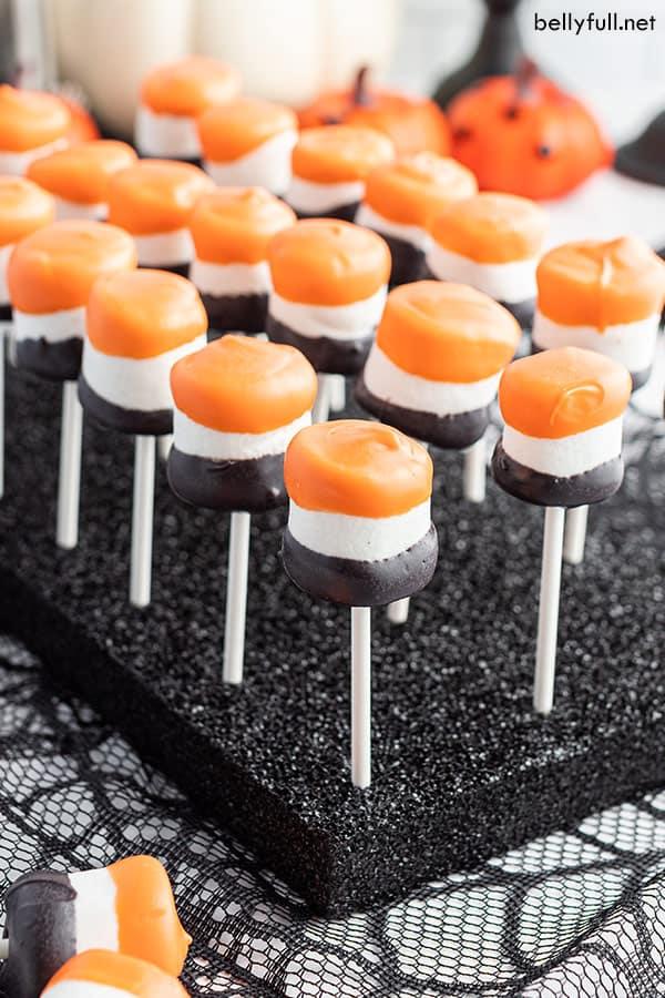 Halloween Marshmallow Pops in black styrofoam base
