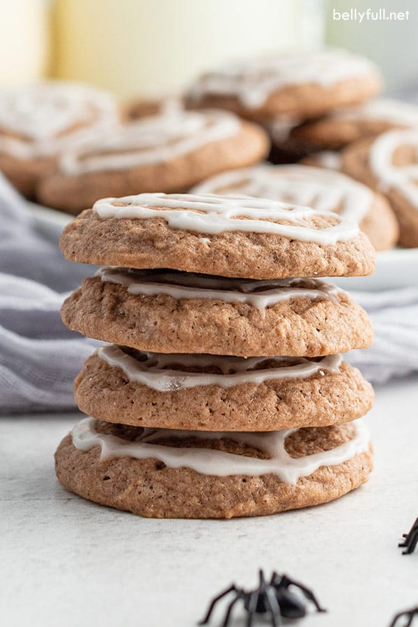 stack of 4 iced chocolate sugar cookies