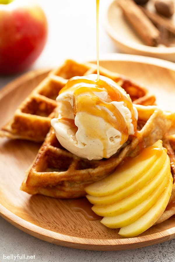apple waffles with vanilla ice cream and caramel sauce drizzle