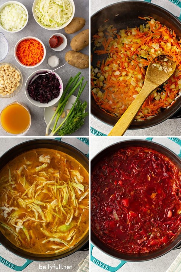 4 picture collage of step by step for Borscht recipe