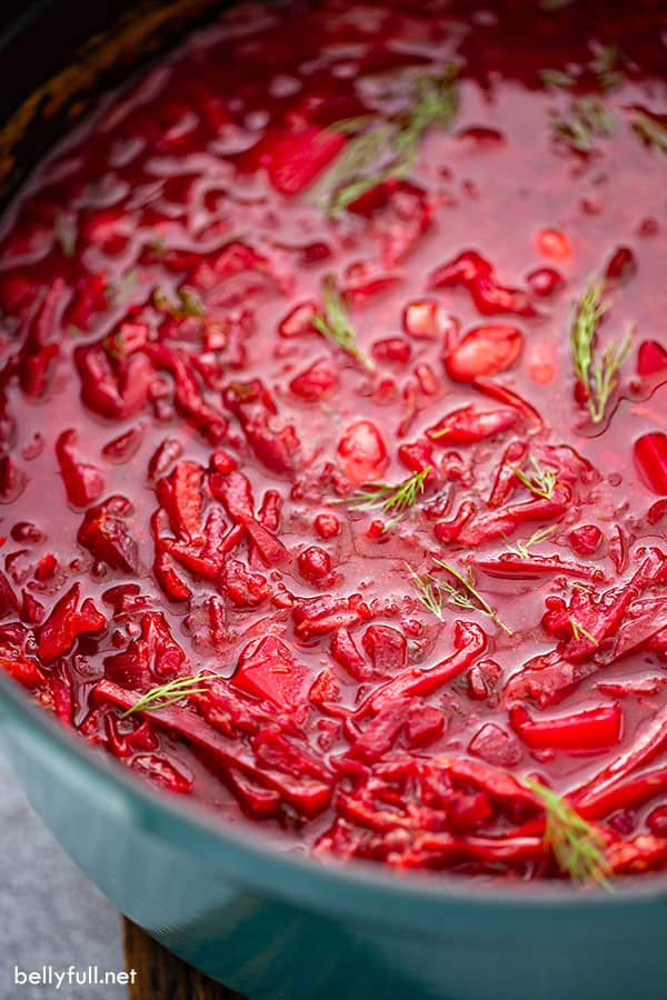 close up of homemade beet soup in pot
