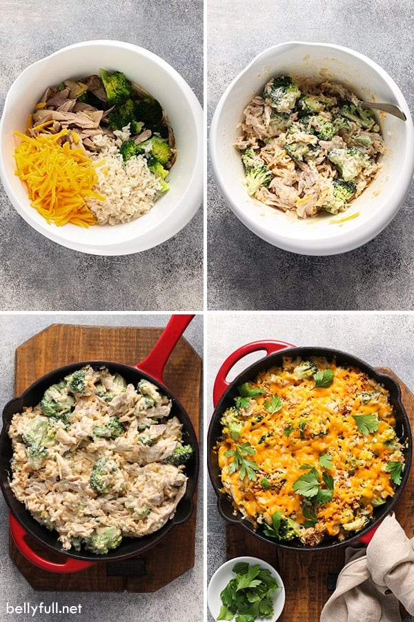 4 picture collage of chicken broccoli rice casserole step by step
