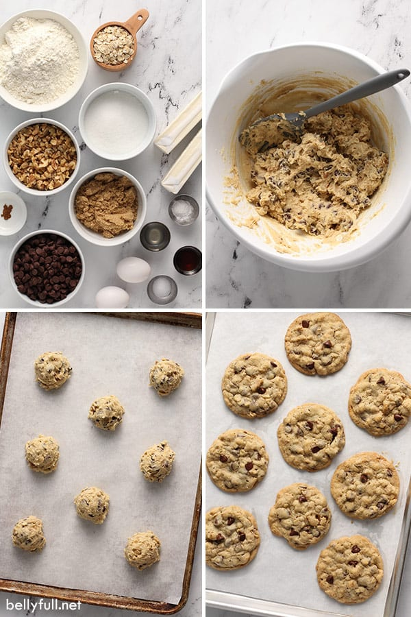 4 picture collage for chocolate chip cookies step by step