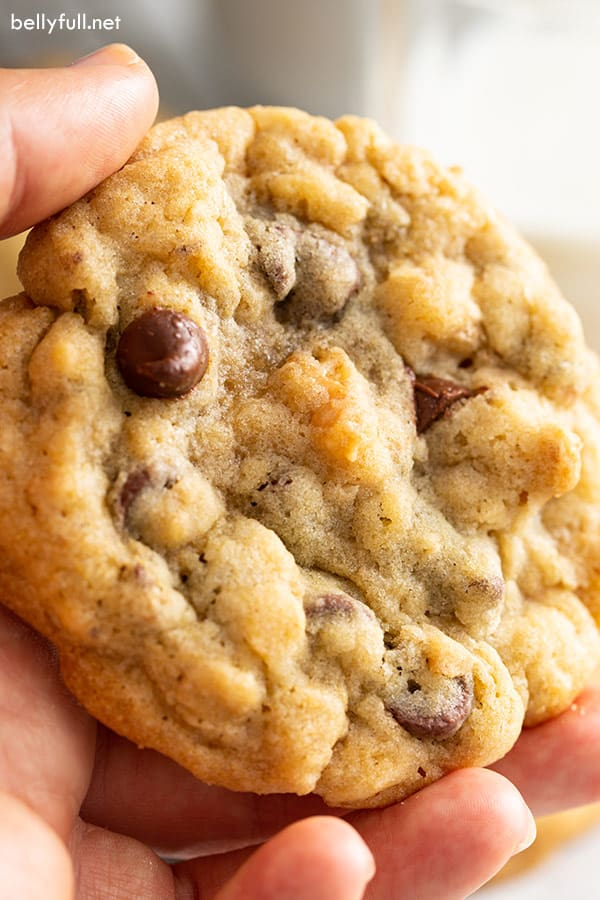 close up of hand holding a warm Doubletree cookie