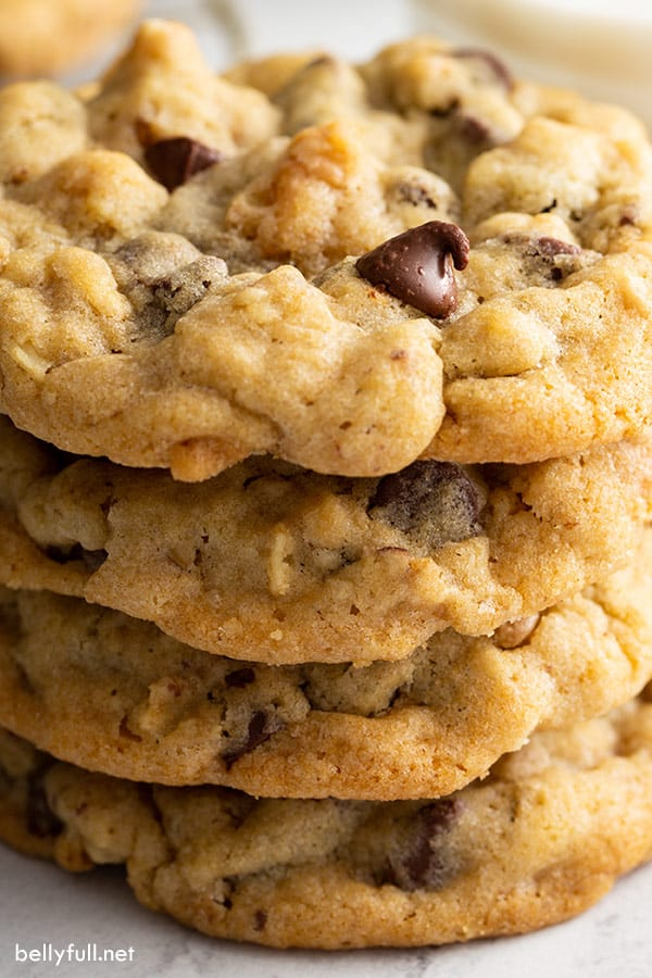 straight on close up stack of 4 Doubletree cookies