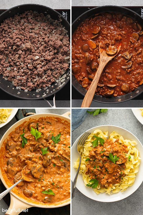 4 picture collage of ground beef stroganoff recipe step by step