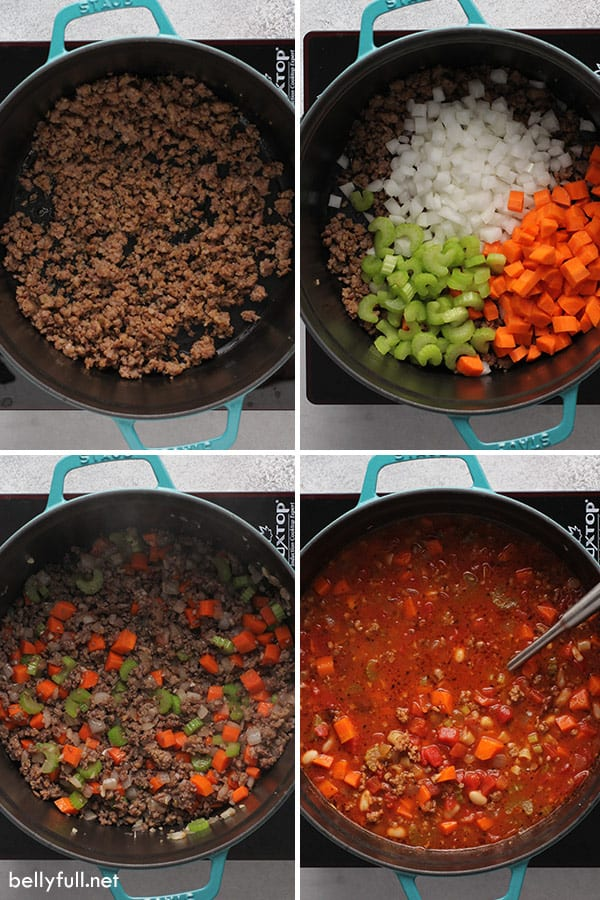 4 picture collage of pasta and beans stew step by step