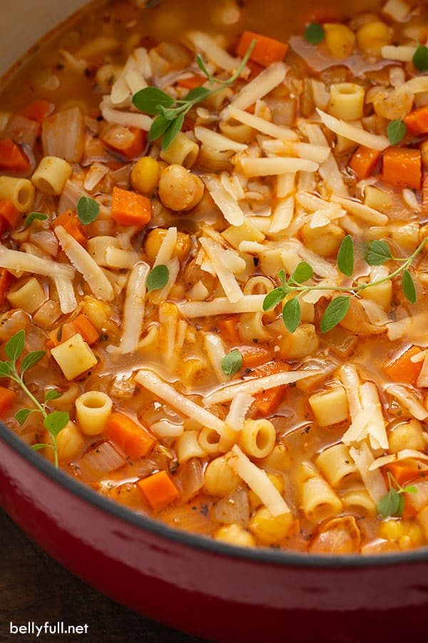 pasta and chickpeas stew in pot