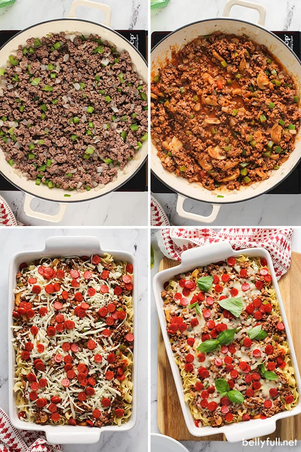 4 picture collage for step by step pizza noodle casserole