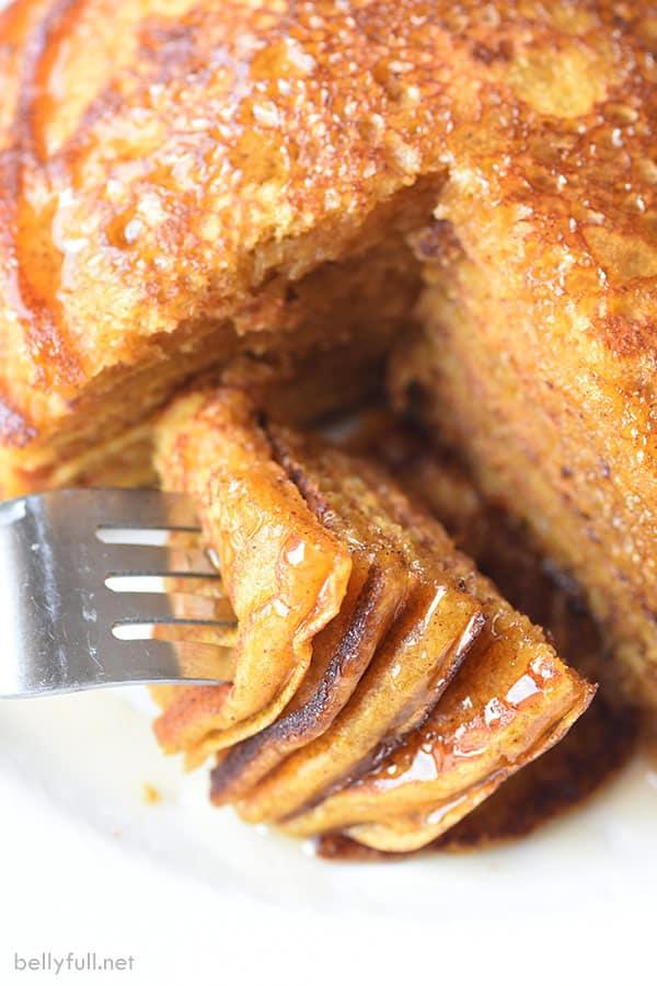 sliced pumpkin pancakes on fork