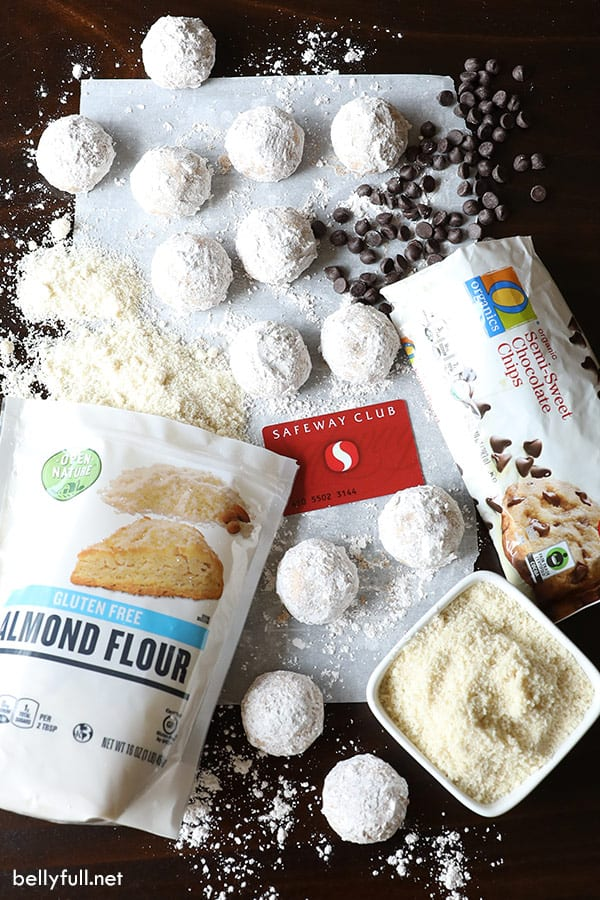 overhead of snowball cookie ingredients with Safeway grocery store card