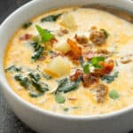 white bowl with Olive Garden Zuppa Toscana