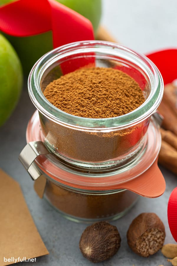 homemade apple pie spice in glass jar